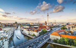 Berlin Bird Eyes View over Mitte district with Berlin Dome, TV Tower and Spree river