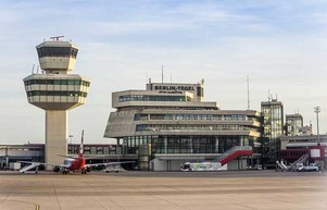 Berlin Tegel Airport view on tower and main building